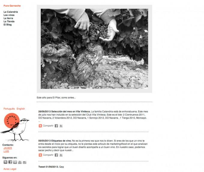 Web y blog corporativo sobre vino